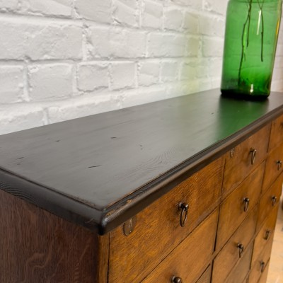 Pair of early twentieth century oak hardware furniture