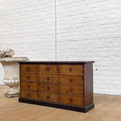 Oak French hardware cabinet