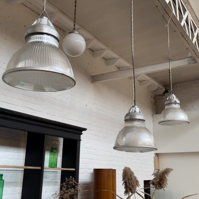Series of 3 Holophane glass pendant lights 1950
