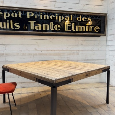 Large square metal and wood workshop table