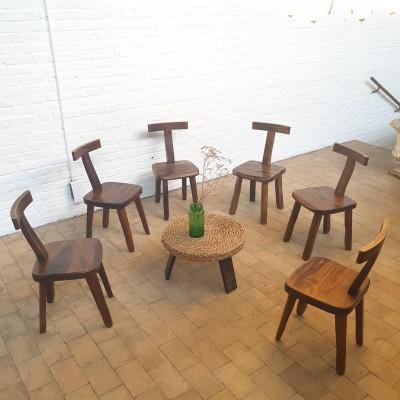 """Lot de 6 chaises  """" T """"  brutaliste"""