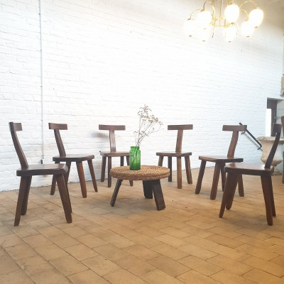 """Set of  6 brutalist """" T """" chairs"""