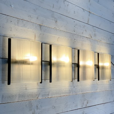 4 french metal and glass wall lights Holophane 1950