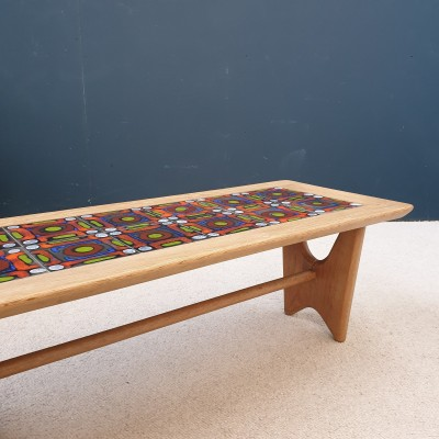 French coffee table by GUILLERME et CHAMBRON with DANIKOWSKI ceramics
