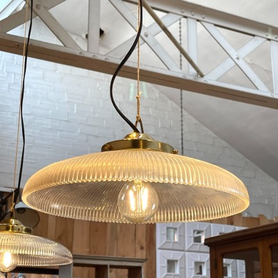 Set of 4 Holophane brass and glass suspensions