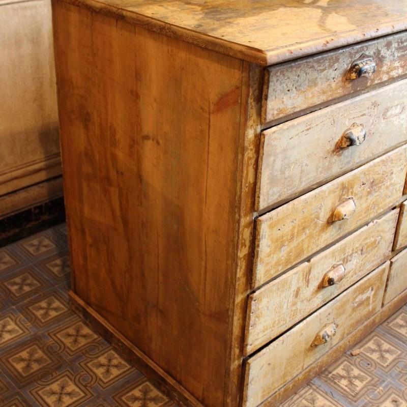 Mobilier industriel ancien meuble de m tier tiroirs 1900 for Meubles 1900