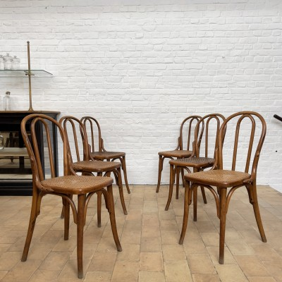 Set of 6 bistro chairs in wood and cane from the 1930s