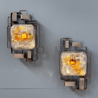 Pair of brutalist metal and glass wall lights