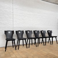 Set of 6 wooden chairs 1950