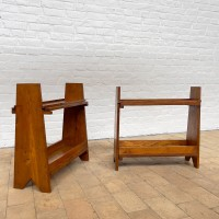 Pair of 1950s reconstruction style oak console