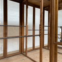 French central wooden glass showcase that can be dismantled