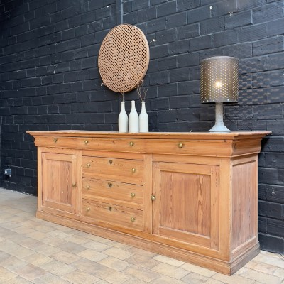 Wooden sideboard 2 doors and 6 drawers in pine 1930
