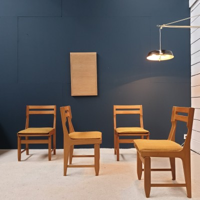 GUILLERME et CHAMBRON set of four oak chairs 1970