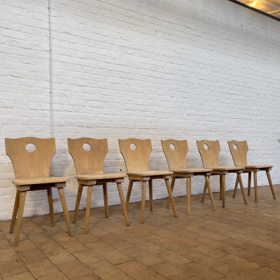 Series of 6 wooden bistro chairs 1950