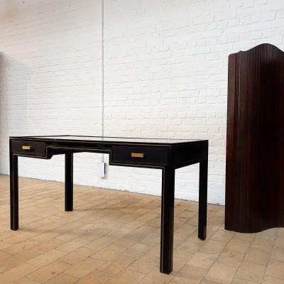 Bureau vintage en metal laqué noir, Pierre Vandel 1970