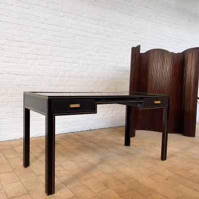 Vintage desk in black lacquered metal, Pierre Vandel 1970