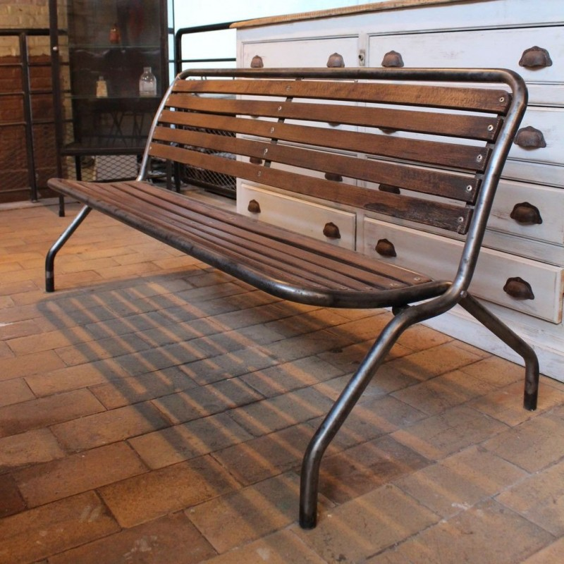 mobilier industriel ancien banc pliant en m tal. Black Bedroom Furniture Sets. Home Design Ideas