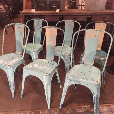 Série de 6 chaises en métal Tolix