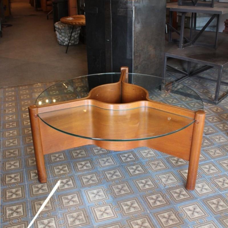 Mobilier industriel table basse en bois et verre 1960 for Table basse bois et verre