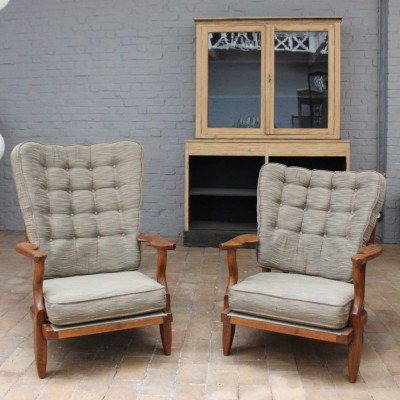 Armchairs and sofa Guillerme and Chambron 1960