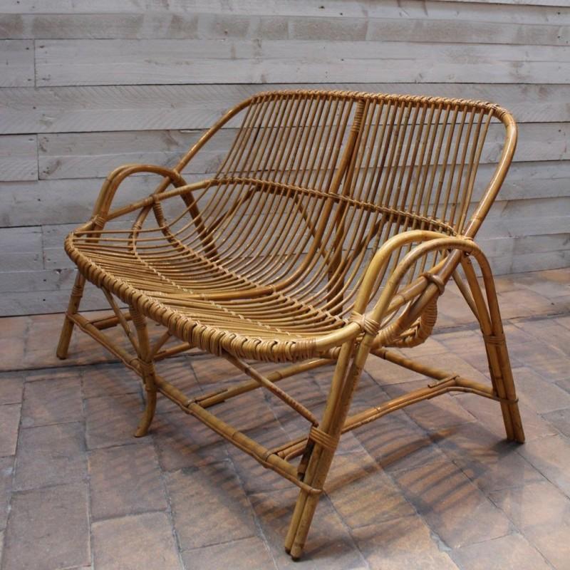 mobilier industriel banquette en rotin 1960. Black Bedroom Furniture Sets. Home Design Ideas