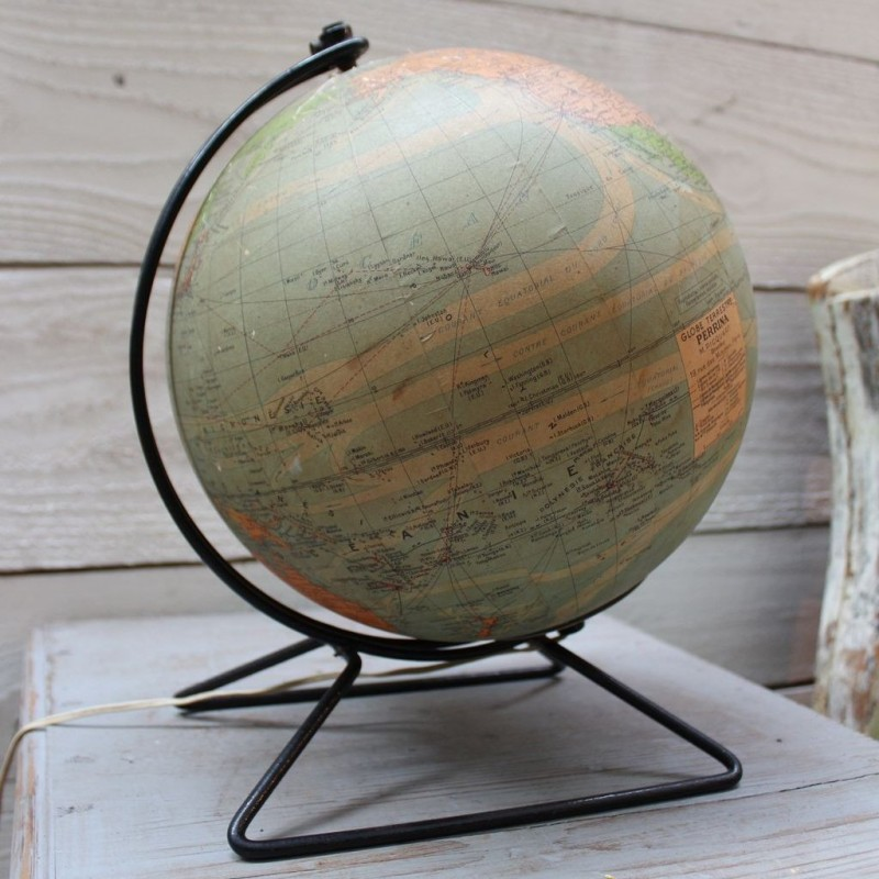 mobilier industriel ancien globe terrestre 1960. Black Bedroom Furniture Sets. Home Design Ideas