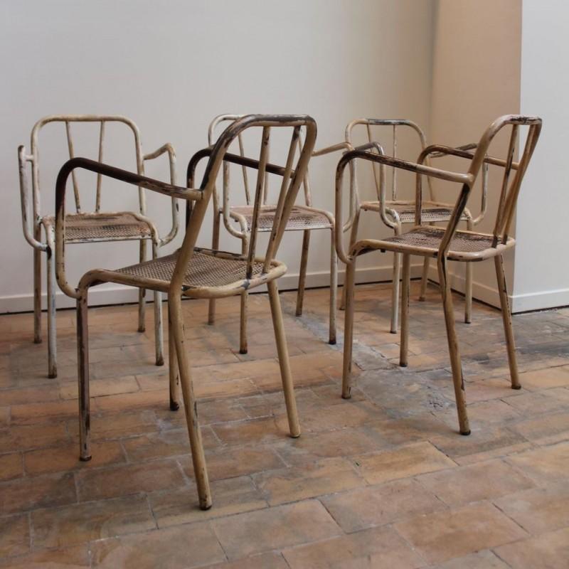 ... Set Of 5 Metal Armchairs