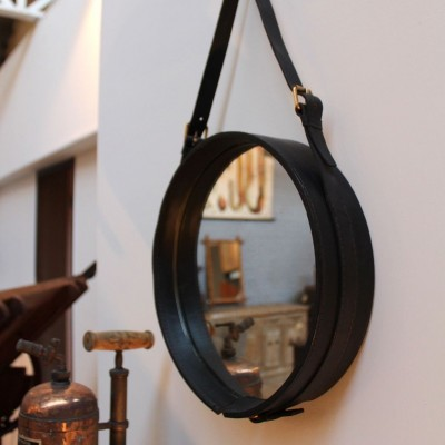 Leather circular mirror 1950 by Jacques Adnet