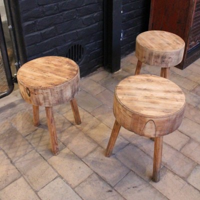 Set of tripod wooden stools
