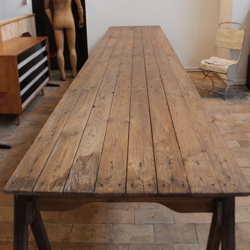 Mobilier industriel grande table d 39 atelier en bois - Grande table en bois ancienne ...