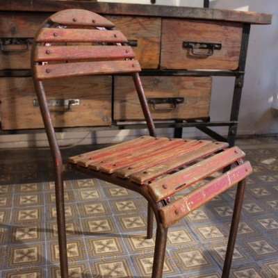 Former metal and wood chair