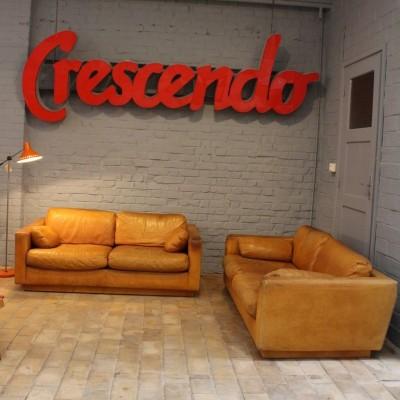 Pair 1960 leather sofa