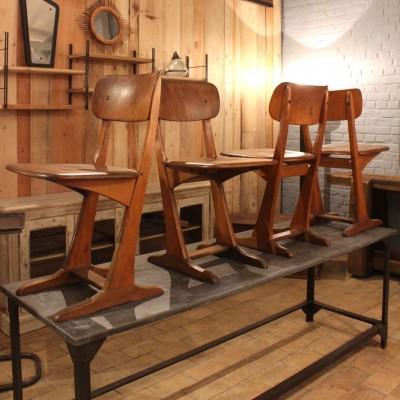 Série de 4 chaises en bois 1950