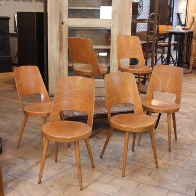 "Série de 6 chaises ""Baumann"" 1960"