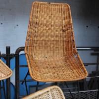 Série de 5 chaises vintage en rotin 1960