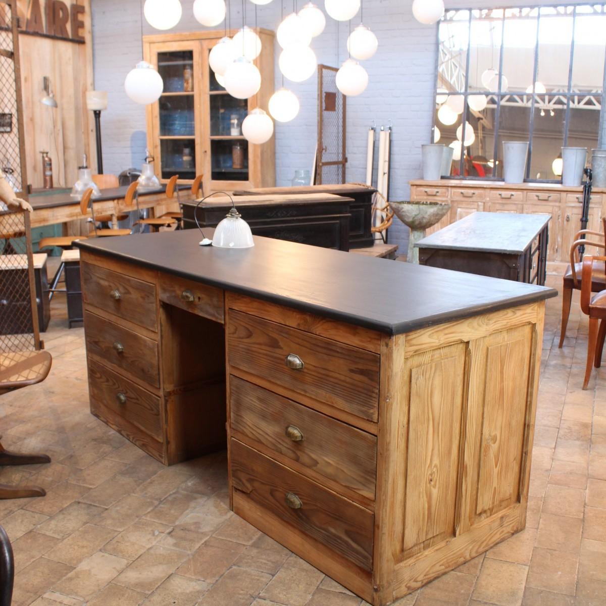 Ancien bureau d 39 usine en bois - Bureau bois ancien ...