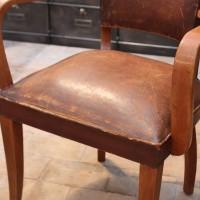 Paire de fauteuils bridge en cuir
