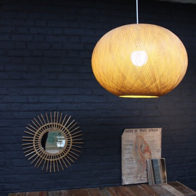 Vintage rattan and resin lamp