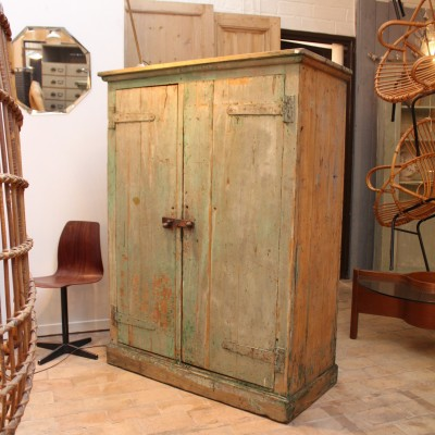 Ancienne armoire industrielle en bois - Armoire industrielle ancienne ...