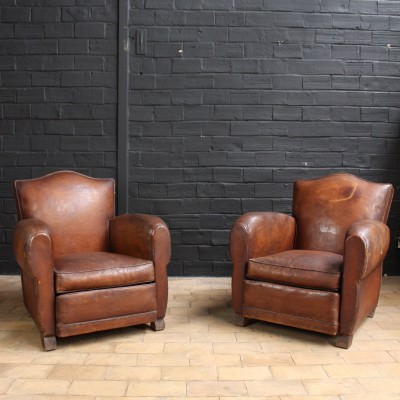Pair of leather club chairs 1930