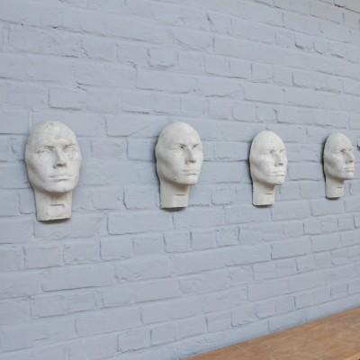 Série de 5 têtes en ciment 1960