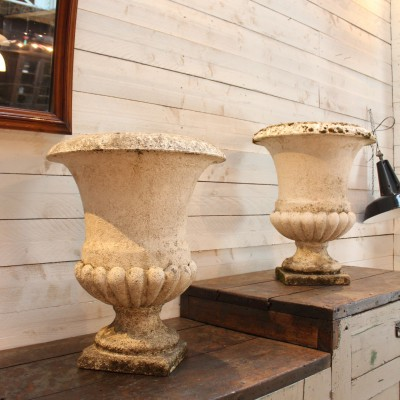 Pair of concrete garden planters