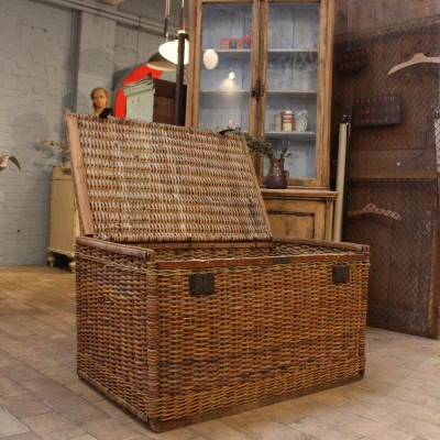 Large rattan travel trunk