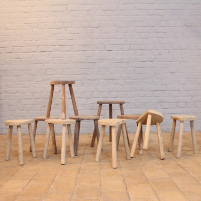 French Small tripod wooden milking stool