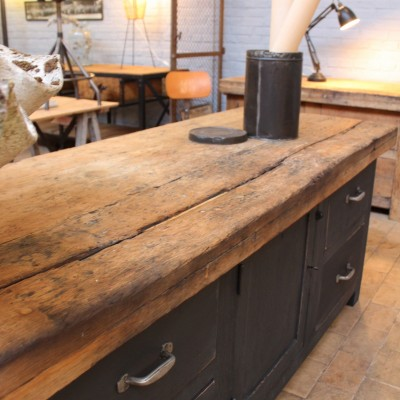 Factory workbench 1950 french antique