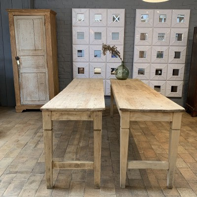 Pair of raw wood console