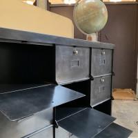 Industrial furniture 9 door in metal 1950