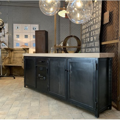 Industrial buffet metal and wood