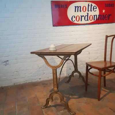 Former bistro table. Brasserie parisienne