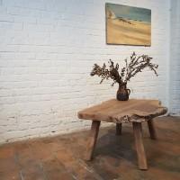 Brutalist coffee table in wood
